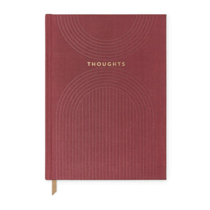 "Burgundy ""Thoughts"" Linear Cloth Journal - Notebook"