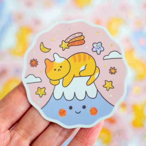 Cat on Mount Fuji Sticker