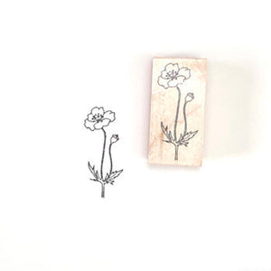 Japanese Wooden Rubber Stamp - Poppy
