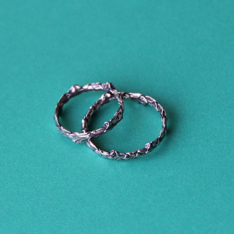 Cedar twig ring in oxidized sterling silver