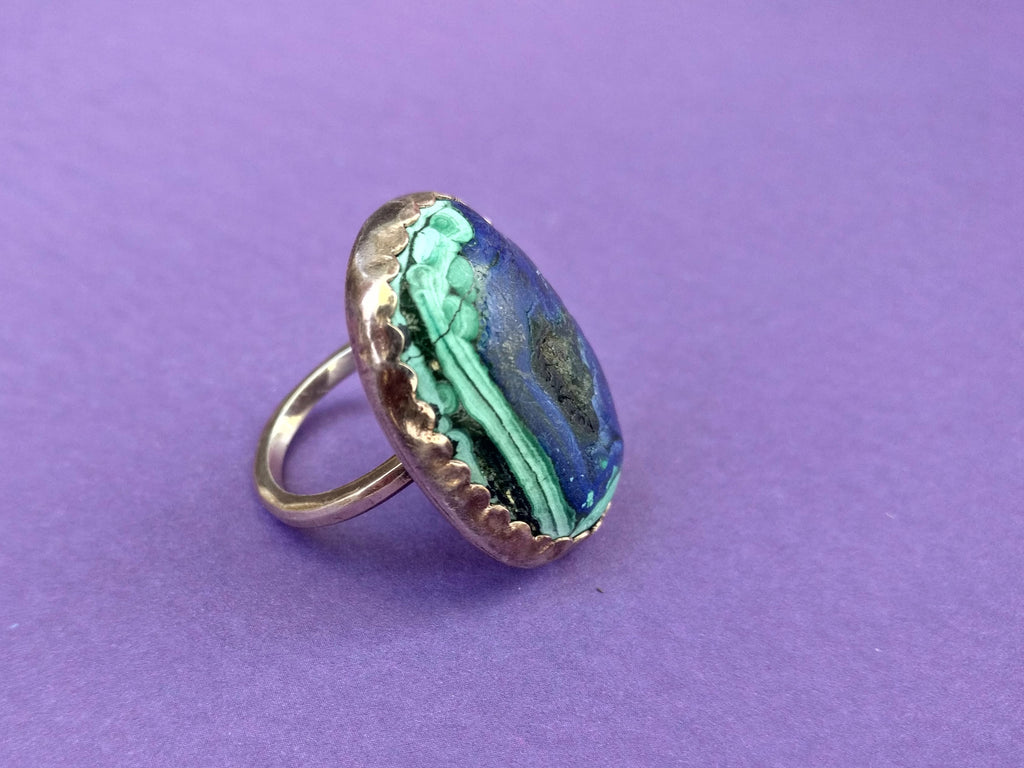 Malachite in Azurite Lost & Found rose gold-plated Ring - ready to ship size 6