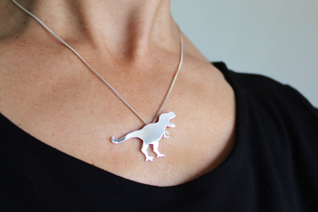 T-Rex Dinosaur Necklace in sterling silver