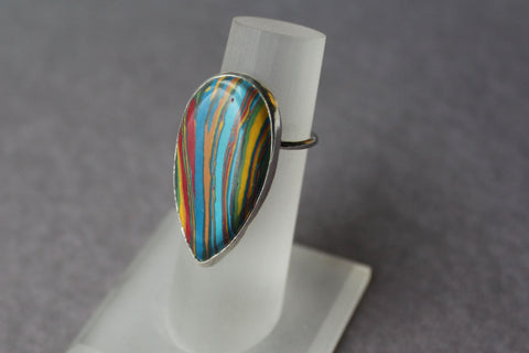 Rainbow Calsilica Cocktail Ring - ready to ship size 6.75