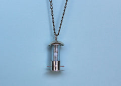 Silver Birdfeeder Necklace with Agate