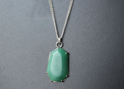 Hand-cut Aventurine geometric gem Necklace