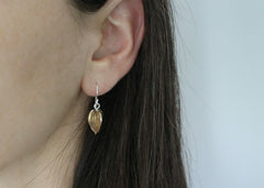 Beechnut dangle earrings in brass and silver