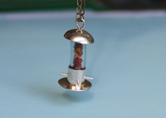 Silver and Jasper Birdfeeder Necklace