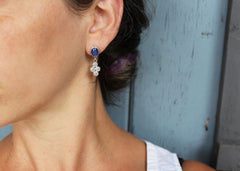 Bouquet earrings with reclaimed star sapphires