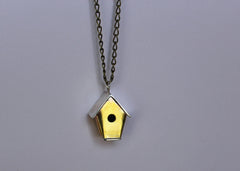 Brass and Silver Mixed Metal Tapered Birdhouse Necklace