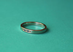 Convergence wedding band in 14K white gold with coloured sapphires