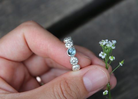 Daisy Chain Ring with blue tourmaline in sterling silver - ready to ship size 6.75