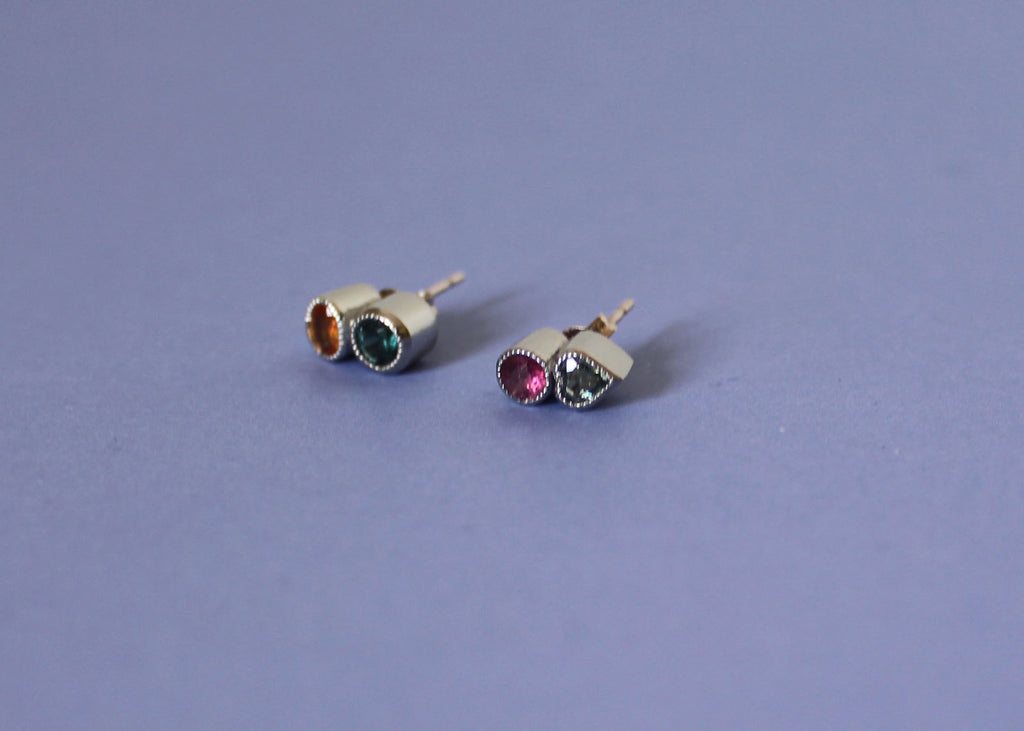 Double Refract Stud Earrings in 14k White gold