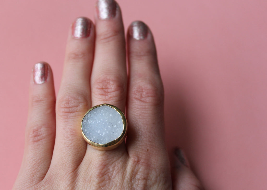 Blue Lace Agate Druzy Lost & Found gold-plated Ring - ready to ship size 6