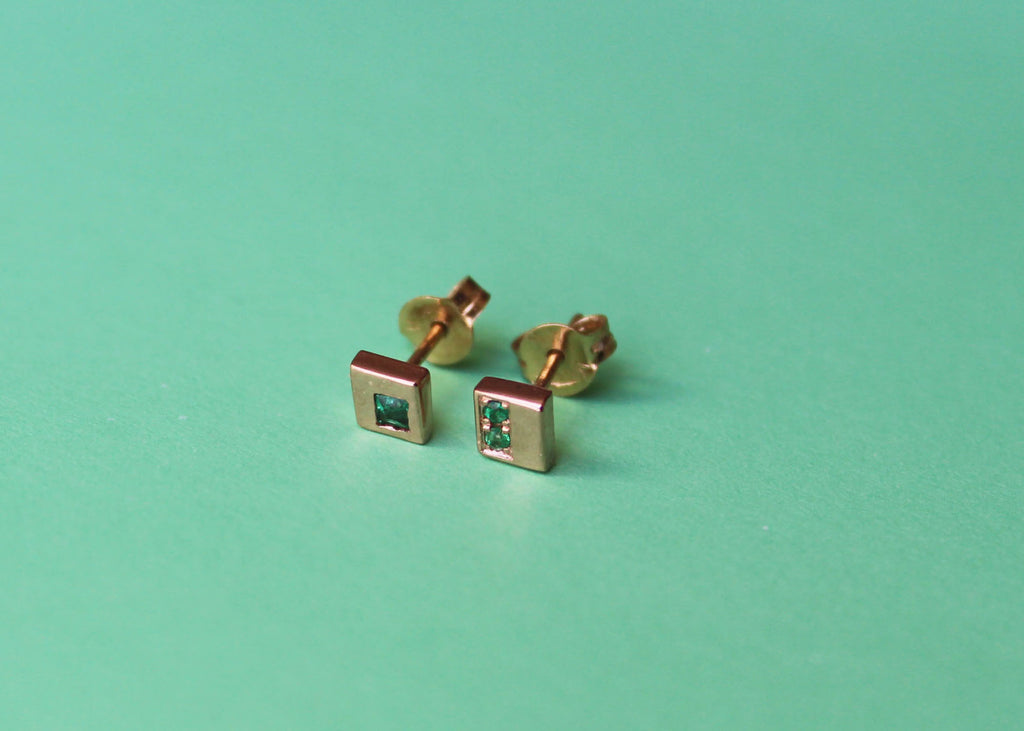 Incidence Earrings in 14k Rose and yellow gold with emeralds