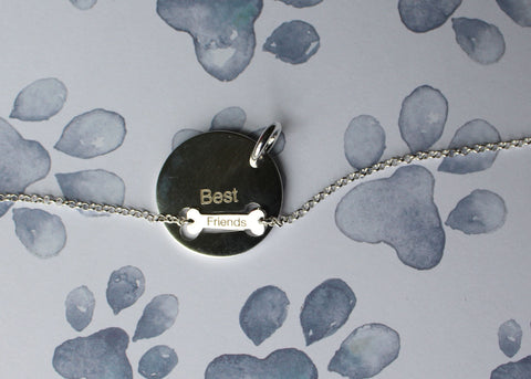 Custom engraving add-on for Dog-Human Best Friends Necklace Set in Sterling Silver
