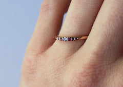 Flora Wavelength Ring dainty wedding band in 14K rose gold with gemstones