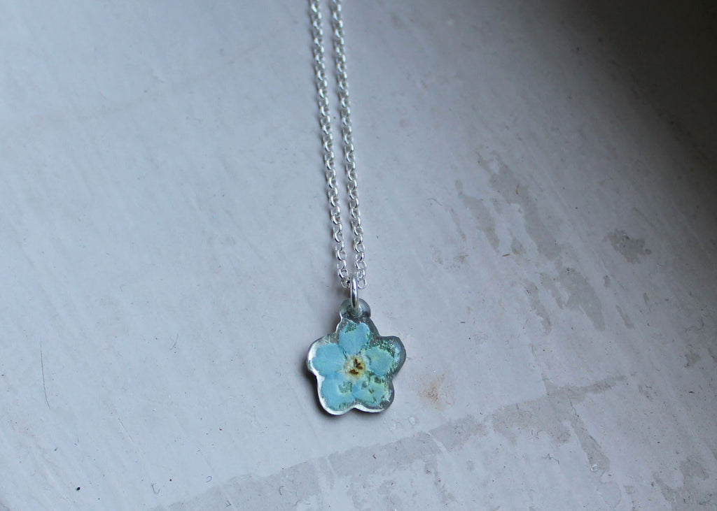 Pressed forget-me-not necklace