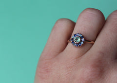 Interference colourful gemstone engagement ring in 14K rose gold with coloured sapphires and blue topaz