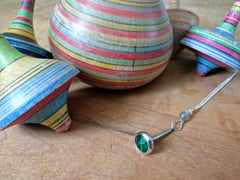Green Gemstone Spinning Top Necklace