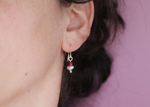 Bleeding heart earrings with Pink Jade
