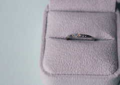 High Tide Wavelength Ring dainty wedding band in 14K white gold with gemstones