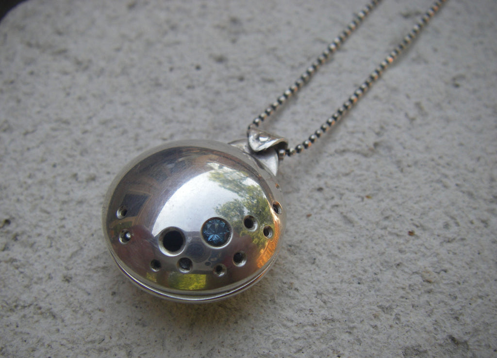 I Love You to the Moon...swivel photo locket in sterling silver with aquamarine