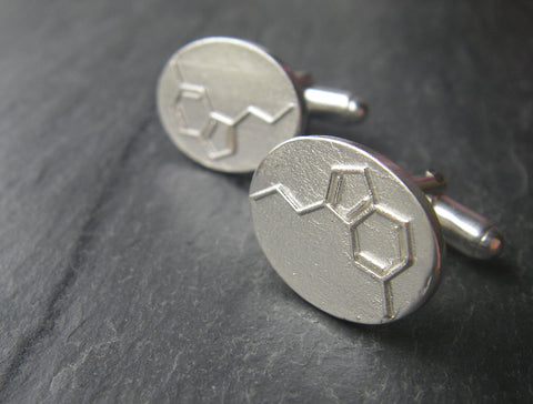 Serotonin Cufflinks - The Happiness Molecule - C10H12N2O