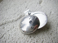 Look Up at the Stars - Custom Constellation swivel photo locket in sterling silver with stone