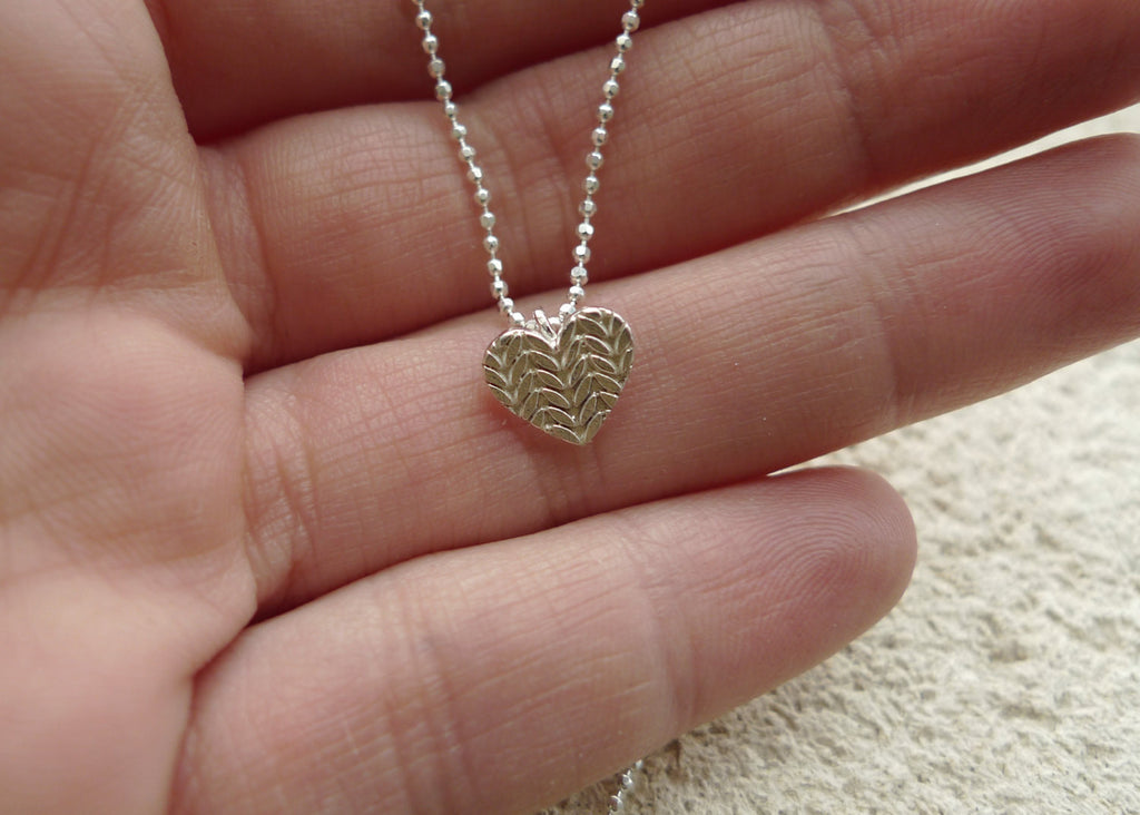 Small Knitted Heart Necklace in Sterling Silver