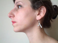 Constructivist Wasp Earrings in sterling silver