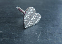 Large Knitted Texture Heart Ring in Sterling Silver