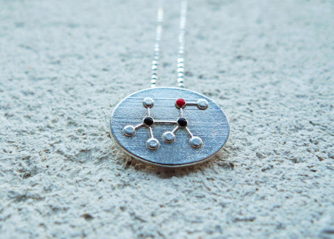 Alcohol Molecule Necklace - CH3CH2OH (coin style)