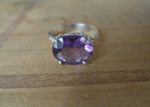 Oval Amethyst Lost & Found Cocktail Ring - ready to ship size 6.5
