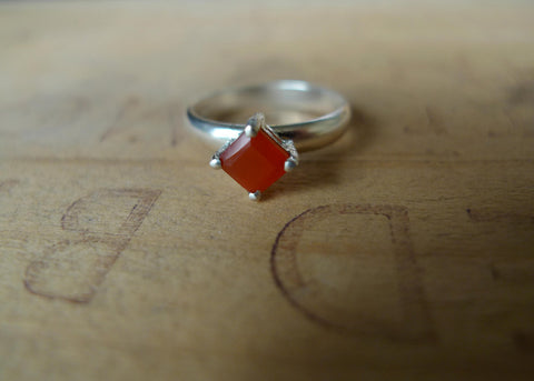 Square Cut Carnelian Lost & Found Cocktail Ring - ready to ship size 6.75
