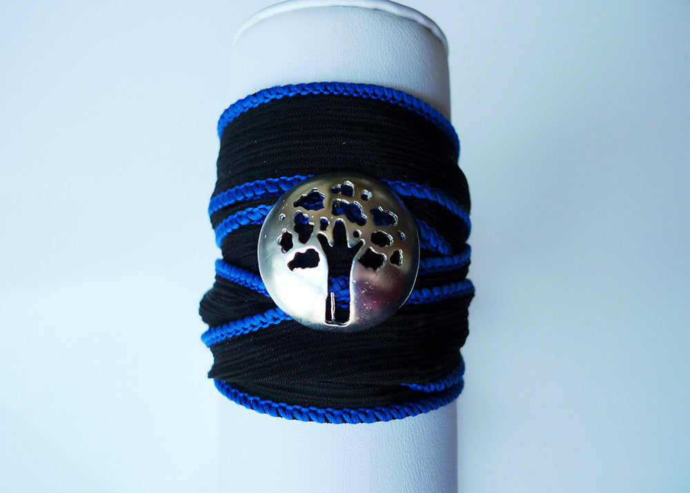 Tree of Life/Oak Tree Wrap Bracelet in Midnight
