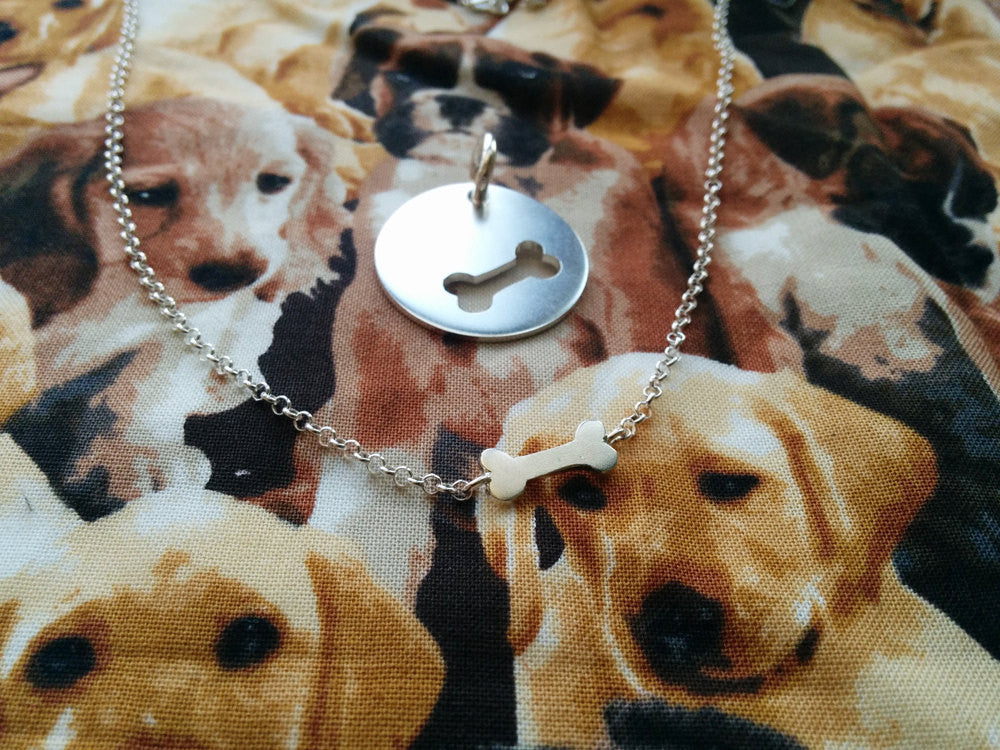 Dog-Human Best Friends Necklace Set in Sterling Silver - Bone