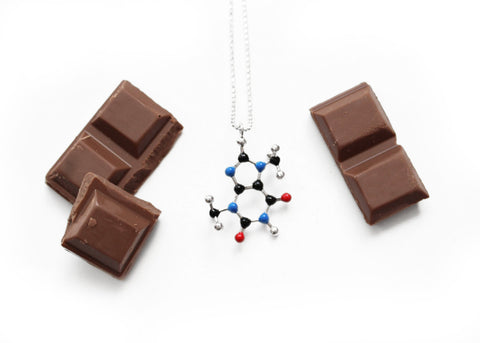 Chocolate Molecule Necklace (Theobromine) - C7H8N4O2