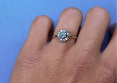 Interference colourful gemstone engagement ring in 14K white gold with coloured Sapphires, emerald, citrine and amethyst