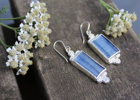 Flower Crown Earrings with Kyanite