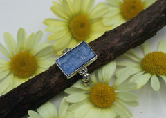 Kyanite Daisy Chain Ring in sterling silver - ready to ship size 7