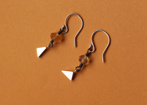 Last leaves earrings in Sterling silver with Citrine