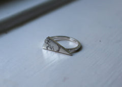 Bare Branches Triangular Signet ring  - Ready to ship in size 7.5