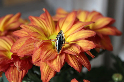 Hematite Marquis Lost & Found gold-plated Ring - ready to ship size 7