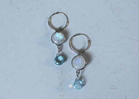 Moonstone and Blue Topaz drop earrings