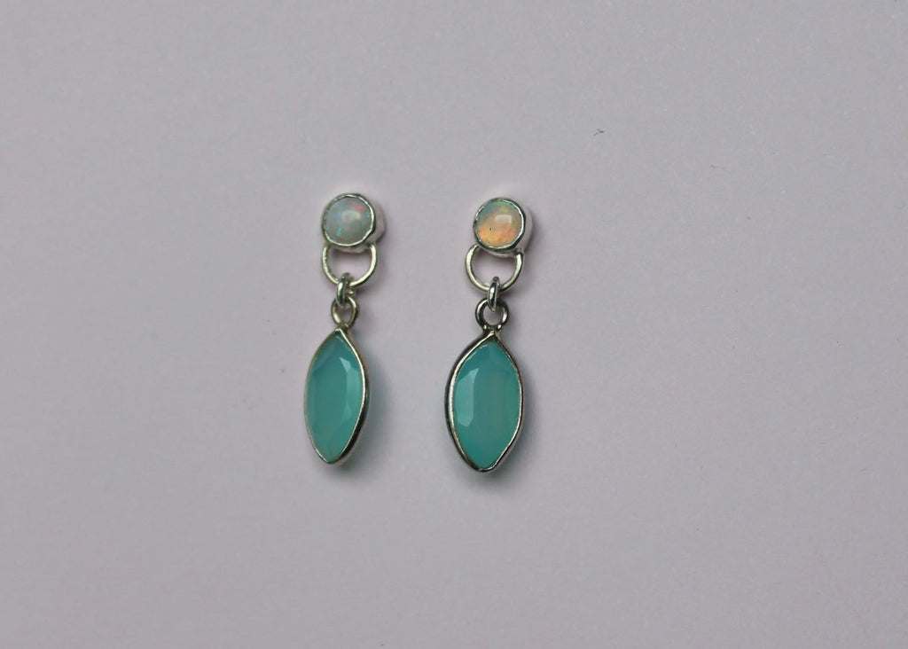 Reclaimed Opal and Chalcedony earrings