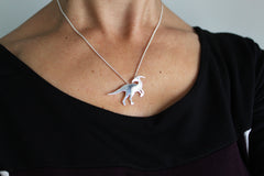 Parasaurolophus Dinosaur Necklace in sterling silver