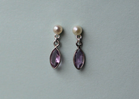 Reclaimed Pearl and Amethyst earrings