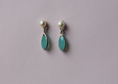 Reclaimed Pearl and Chalcedony earrings