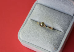 Pentagonal Prism diamond engagement ring in 14K yellow gold with sapphires