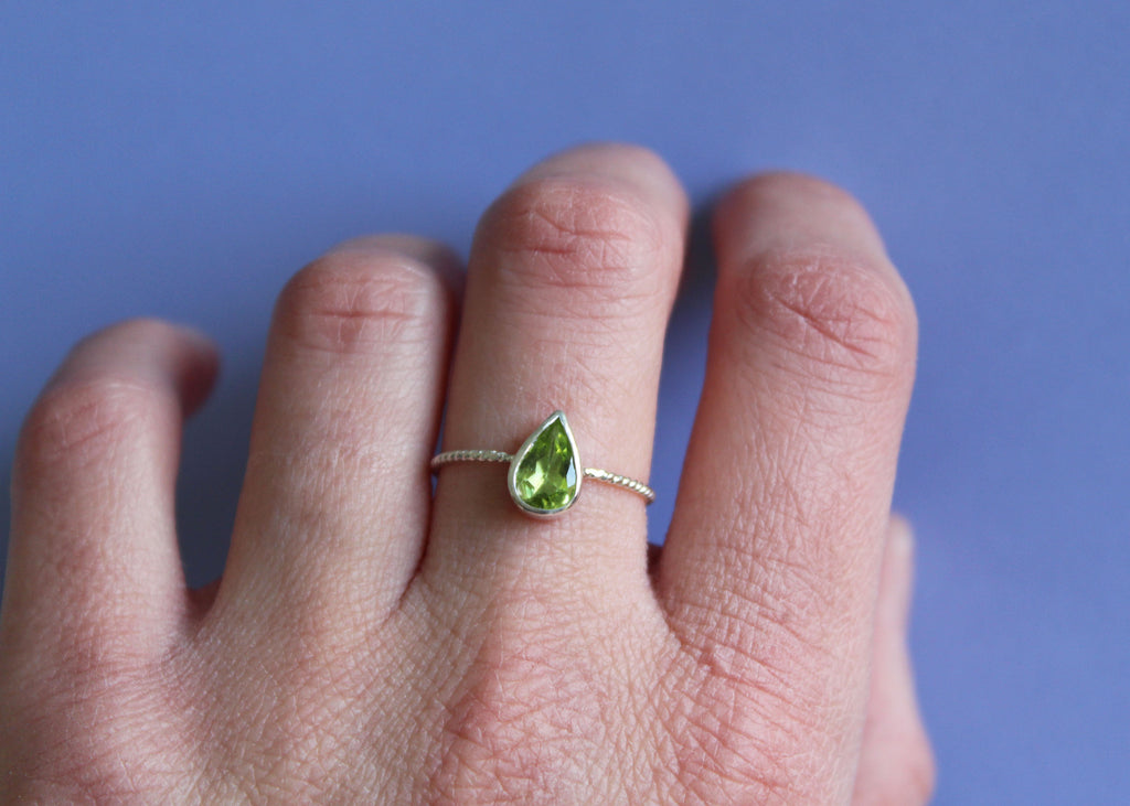 LEAFLET ring with reclaimed Peridot in Sterling Silver